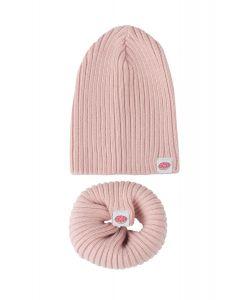 czapeczka + komin dziany bawełniany różowy 0-24M
