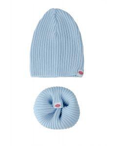 czapeczka + komin dziany bawełniany baby blue 0-24M