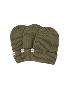 czapka z wełny merino khaki 3-6 lat kolorowa metka