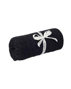 kocyk bambus bawełna warkocz  czarny