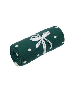 kocyk bawełniany kropki zielone