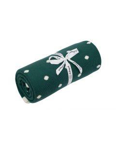 kocyk bawełniany kropki zielone outlet