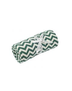 kocyk bawełniany zygzag zielona butelka